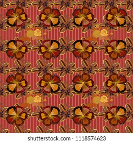 Seamless floral ornament. Modern cosmos flower pattern with royal flowers. Colored orient pattern in red, orange and brown colors.