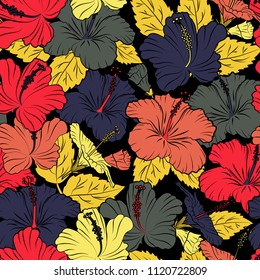 Seamless floral ornament. Modern hibiscus flower pattern with royal hibiscus. Colored orient pattern in violet, black and yellow colors.