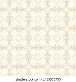 Seamless floral ornament on background. Template for your design. Seamless wallpaper pattern. Vector illustration