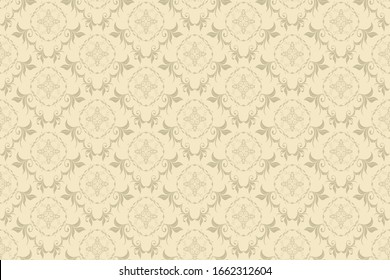 Seamless floral ornament on background in baroque style. Wallpaper pattern
