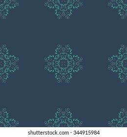 Seamless floral ornament on dark background. Wallpaper pattern