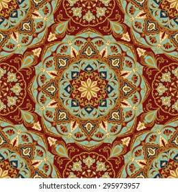 Seamless, floral, ornamental background. East, old ornament with golden lines. Template for cloth. Stylized medieval mosaics. Oriental, bright, rich pattern in classic colors.