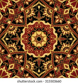 Seamless, floral, ornamental background. East, old ornament with golden lines. Template for carpet. Stylized medieval mosaics. Oriental, bright, rich pattern in dark colors.