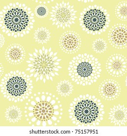 Seamless with floral ornate on the green background.