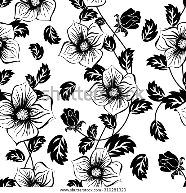 Seamless Floral Ornate Pattern Black White Stock Vector Royalty Free 310281320
