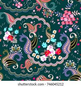 Seamless floral paisley pattern in folk style.Multicolor vector illustration. Indian, russian, turkish motives.