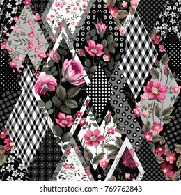 seamless floral patchwork pattern with roses