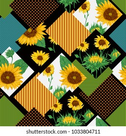 Seamless floral patchwork pattern with sunflowers. Vintage vector illustration in watercolor style.