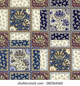Seamless floral patchwork pattern. Vector checkered backgrounds set. Abstract textures with flowers, leaves and laces.