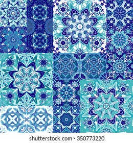 Seamless floral patchwork pattern. Vector checkered backgrounds set. Abstract textures with tile in east style. Blue and white snowflakes.