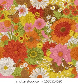 Seamless floral pattern 70s. Autumn flowers and butterflies. Warm colors.