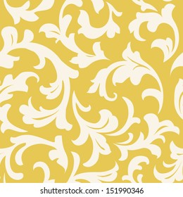 Seamless floral pattern. Abstract leaves silhouette on yellow background. Old styled wallpaper
