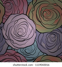 Seamless floral pattern with abstract stylized beige, blue and pink roses, vector pattern.