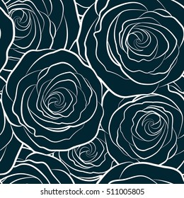 Seamless floral pattern with abstract stylized dark roses silhouette, vector monochrome pattern.