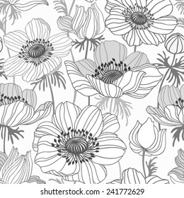 seamless floral pattern with anemone on white background