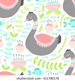 Seamless floral pattern background with elegant swan birds. Vector flower nature illustration. Colorful doodle repeats for fabrics and packaging.