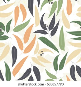 Seamless floral pattern. Background with eucalyptus leaves