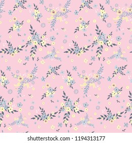 Seamless floral pattern. Background in small flowers for textiles, fabrics, cotton fabric, covers, wallpaper, print, gift wrapping, postcard, scrapbooking