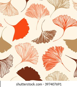 Seamless floral pattern with beauty ginkgo leaves. Vector elegant background