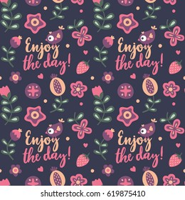 Seamless floral pattern with bee, flowers, cute, funny, cartoon, plant, cherry, leaf, spring, summer, textile, animal, nature