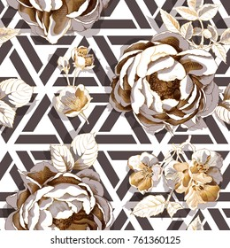 Seamless floral pattern. Big gold peony and cherry  flowers on a geometric background. Vector illustration.