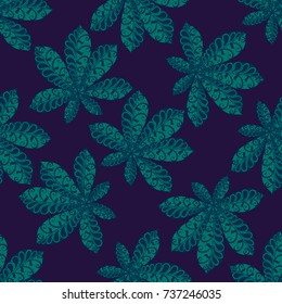 Seamless Floral Pattern with Big Leaves of Chestnut or Tropical Trees Hand Drawn in Zentangle Style. Exotic Abstract Pattern for Paper, Wrapping, Textile, Fabric. Vector.