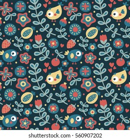 Seamless floral pattern with bird, flowers, strawberry, cute, funny, cartoon, plant, cherry, leaf, spring, summer, textile, animal, nature