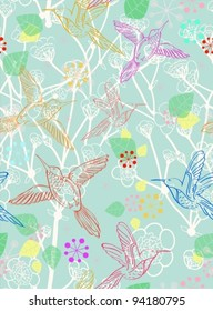 Seamless floral pattern with birds, endless background, vector illustration