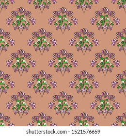 Seamless floral pattern with black contour, mauve flowers, yellow, green and pink leaves, brown-pink background, vector. Great for decorating fabrics, textiles, gift wrapping, printed materials.
