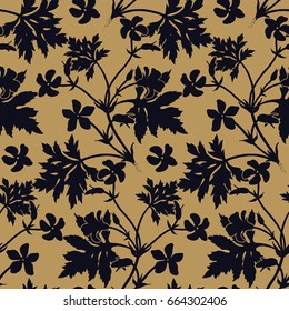 Seamless floral pattern. Black silhouettes of foliage and geranium flowers on a gold background. Vintage vector illustration. Hand drawing. Template for packaging, textiles, paper, wallpaper, fabric.