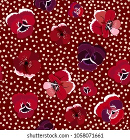 Seamless floral pattern with blooming flowers  on hand drawn polka dot background. Vector summer design.for fashion fabric and all prints on stylish maroon color