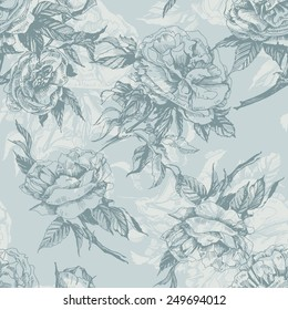 Seamless floral pattern with a blossoming branch of wild rose. Vector  Illustration