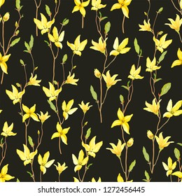 Seamless floral pattern with blossoming yellow flowers and green leaves branches Forsythia. Vector illustration on dark background in watercolor style.