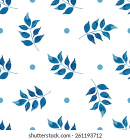 Seamless floral pattern. Blue twigs, leaves, foliage and circles on a white background, watercolor, ink.