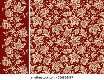 Seamless floral pattern and border. Ornamental texture with golden flowers and leaves. Vector background.