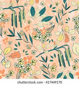 Seamless floral pattern, botanical elements. Spring motif, pastel background.