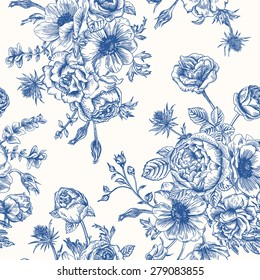 Seamless floral pattern with bouquet of blue flowers on a white background. Roses, anemones, eustoma.