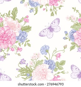 Seamless floral pattern with bouquet of colorful flowers and butterflies on a white background. Peonies, roses, sweet peas, bell. Vector illustration.