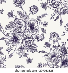 Seamless floral pattern with bouquet of flowers on a white background. Roses, anemones, eustoma. Black and white.