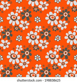 Seamless floral pattern. Bouquets of flowers on a orange background in retro style. Painted hands. Vector.
