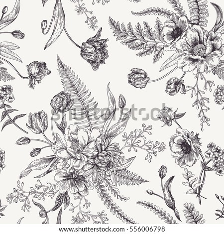Seamless floral pattern bouquets spring flowers stock vector seamless floral pattern with bouquets of spring flowers black and white vector illustration vintage mightylinksfo