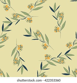 Seamless floral pattern, branch with flowers.