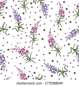 Seamless floral pattern with branches of fireweed flowers. Ivan Chai. Hand drawn botanical illustration isolated on white background, texture for wallpaper, textile, package tea