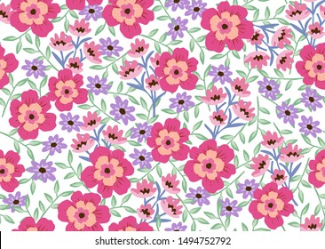 Seamless floral pattern with bright colorful flowers and leaves on white background. Ditsy pink, cream, peach blooms. Modern floral background. Folk style. Repeat tile.