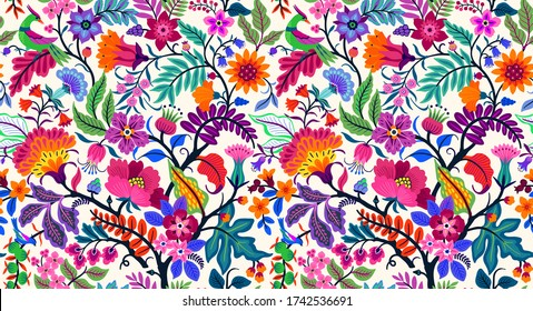 Seamless floral pattern with bright colorful flowers and tropic leaves on a white background. The elegant the template for fashion prints. Modern floral background. Trendy Folk style.