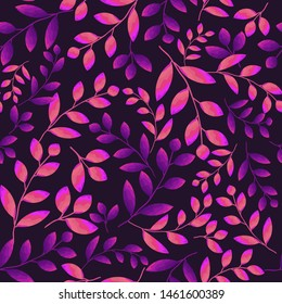 Seamless floral pattern with bright fluorescent tree branches. Purple-pink leaves on a dark background. Magic forest abstract texture, Wallpaper, template for fashion prints, interior design, fabrics.