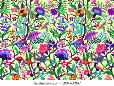 Seamless floral pattern with bright multicolored flowers and tropic leaves on a white background. Tree of Life, with richly coloured exotic flowers and birds. The elegant template.