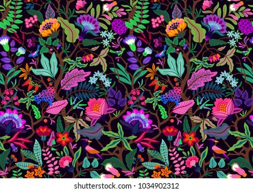 Seamless floral pattern with bright multicolored flowers and tropic leaves on a black background. Tree of Life, with richly coloured exotic flowers and birds. The elegant template.