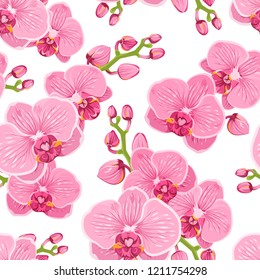Seamless floral pattern with bright pink purple orchid phalaenopsis on white background. Exotic tropical flowers. Vector design illustration for fashion, fabric, textile, decoration.