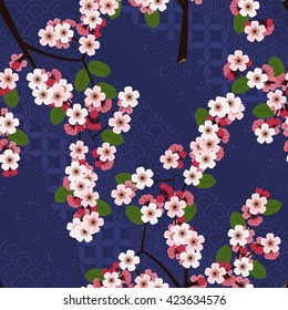 Seamless floral pattern with cherry sakura flowers on blue japanese background
